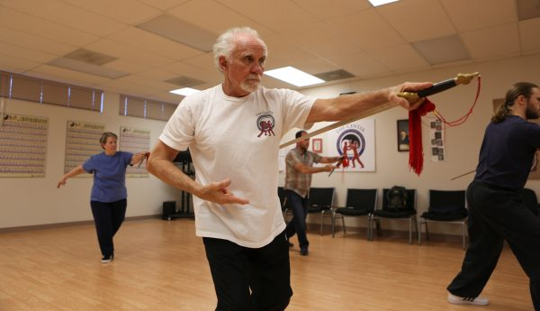 Dr. James Fox, PhD leads a Sword From class at the Eugene Yang Chengfu Tai Chi Chuan Center.